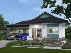 A bungalow is a one-storey layout that is a perfect fit for families with young children or elderly. A lot of families will enjoy the bright, spacious, and open feel of this bungalow house design. Wooden Door Knobs, Wooden Doors, Two Story House Plans, Two Story Homes, Bungalow House Plans, Bungalow House Design, Minimalist House Design, Minimalist Home, Bamboo Garden Fences