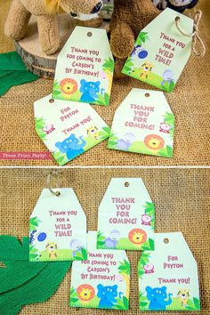 Jungle Party Decorations Jungle Birthday Printables Safari. by Press   Print Party!  Go WILD with these Jungle Party Printables!     Jungle party kids, birthday, jungle baby shower,  jungle party theme,   DIY, boys, birthday ideas, jungle safari party, elephant party, monkey   party, 1st birthday ideas, 1st birthday boy theme,   Jungle Safari FavorTags Printables Jungle Favor Tags Thank