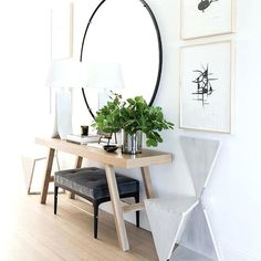 Hallway Mirror And Table Alluring Round Hallway Table With Best Entry Mirror Ideas On Front Entrance Ways Hallway Mirror Table Front Entrance Ways, Front Hallway, Entrance Table, Front Entrances, House Entrance, Entrance Ideas, Entry Ways, Hallway Table Decor, Front Entry