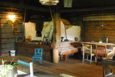 "Finnish style log cabin ""rökstuga"" in Gräsmark, Sweden. 17th century Finn settlement."