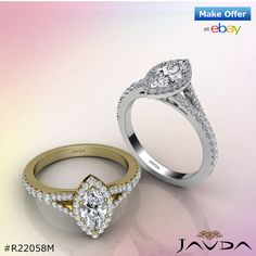 Shiny Marquise Diamond Engagement Halo Pre-Set Ring GIA G VS1 18k White & Yellow Gold 1Ct.