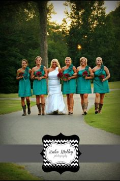 Country Wedding. i love the color of the bridesmaids dresses!  Love this Bridesmaid Dress..