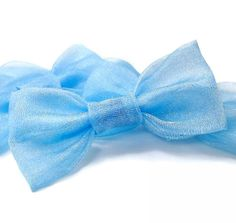 Kawaii Sparkly Light Blue Hair Bow Clip Barrette by blacktulipshop, $5.00