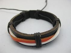 Shoply.com -Cuff Bracelet made of orange white Leather Strap cover black leather Jewelry. Only $3.00