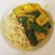 One amazing Thai green fish curry with cauliflower rice