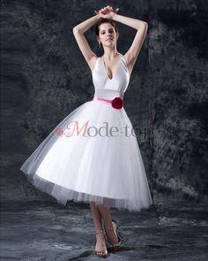 Prinzessin ärmellos romantisches lockeres Brautkleid mit Bordüre