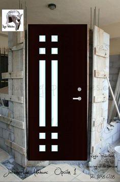 puertas entrada principal con cristal y reja - Buscar con Google Wooden Main Door Design, Front Door Design, Gate Design, House Design, Home Window Grill Design, Moraira, Modern Front Door, Flush Doors, Double Entry Doors