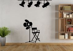Cinema Lights & Directors Chair Wall Decal-Removable Wall Art Sticker-Multiple Colors-Home Theater-Movie Room Monogram Wall Decals, Vinyl Wall Stickers, Shops, Etsy Business, Business Tips, Craft Show Displays, Success, Business Inspiration, Removable Wall