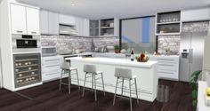 Garage Studio Apartment, Sims 4 Kitchen, Sims 4 House Design, Sims House Plans, Sims 4 Build, Sims 4 Houses, Minimalist Living, Tiny Living, Kitchen Ideas