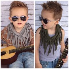 Set of 2 --- HIPSTER Toddler Fringe Scarf Little Boy Baby Infinity Jersey Knit GRAY & BLACK Gift Rich Girl Rags Co Kid Unisex Girl Hipster on Etsy, $25.00