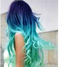 cabelos-coloridos-azul-pontas-verde-agua.jpg (632×716)
