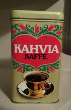 Kahvipurkki Coffee Tin, Good Old Times, Vintage Tins, Tin Boxes, Product Design, Finland, Old Things, Dishes, Traditional