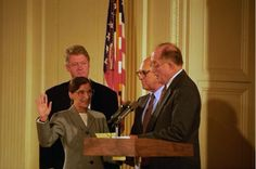 Photograph of the Swearing-In of Judge Ruth Bader Ginsburg as Associate Supreme Court Justice, with President William J. Clinton Attending. 8/10/1993