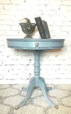 End table-hand painted- vintage- Duncan Phyfe-blue/grey- solid wood-distressed- chalk painted - shepaintsshop-claw feet- lion head pull Flipping Furniture, Furniture Diy, Upcycled Furniture, Furniture, Painted Table, Chalk Paint Furniture, Painted Furniture, Redo Furniture, Refinishing Furniture
