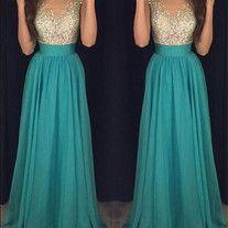 High Quality Formal Evening Dresses Mint Long Prom Gown Chiffon Prom Dresses Rhinestone