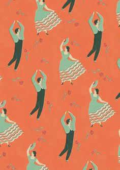 Flamenco pattern by Naomi Wilkinson for Lagom Design Textiles, Textile Patterns, Print Patterns, Textile Design, Naomi Wilkinson, Lagom Design, Fractal, Fashion Wallpaper, Collage