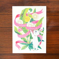 CONGRATULATIONS! Fun vintage vibes in these animalistic greeting cards by Napa Agency's illustrator Pauliina Mäkelä for Karto!