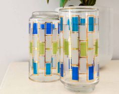 Vintage Glass Set of 2 Tumblers Drinking Glasses Geometric Rectangles Frosted, LIme Green ,Teal, Royal Blue Gold