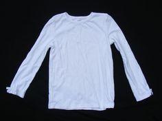 GYMBOREE Longsleeve, White Cotton Solid Plain Top, Bow on cuff, Round neck Sz 7 #Gymboree #Everyday