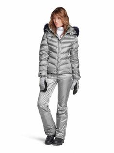 66f50481cb4 Wear with bright colored pants!! DOWN SKI JACKET SALLY in Silver for Women