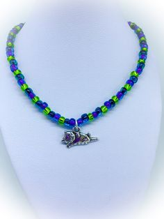 Cat Necklace with blue purple and lime green seed beads approx 18 inches-cat lovers gift crazy cat lady gift gifts for her handmade necklace