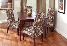 Dining Chair Covers in Chocolate Brown + Floral
