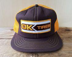 c0944141 Vintage 80s OK TIRES Gold Mesh Brown Trucker Hat Snapback Cap Promo Wear  Canada #BaseballCap