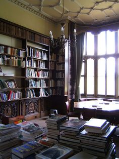 Pope Library, Wroxton Abbey, Wroxton, England. ghosts next door, secret passage just beyond, secret doorway to the side.