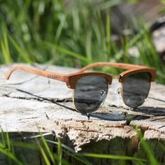 Handmade Wood Sunglasses  Red  Round Clubmaster Wooden door WoodMy