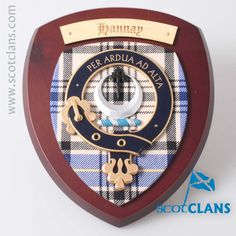 Hannay Clan Crest Wall Plaque. Free worldwide shipping available.