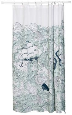 Danica Studio Cotton Shower Curtain, Odyssey Print Now De Upstairs Bathrooms, Laundry In Bathroom, Shared Bathroom, Small Bathroom, Bathroom Ideas, Mermaid Bathroom, Cotton Curtains, Kitchen And Bath, Bathroom Accessories