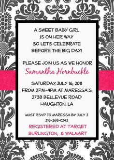 #babyshower #customized #invitation Check out my Etsy shop! I design, you print at your place of choice!