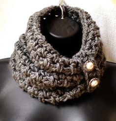 Crochet Scarf Infinity Scarf Cowl Charcoal Grey by JadeExpressions @Virginia Cutchens I'll make you those brownies if you make me this scarf!
