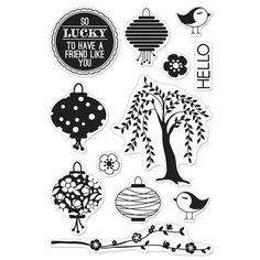 Hero Arts Clear Stamp - Basic Grey Konnichiwa - Konnichiwa Lantern