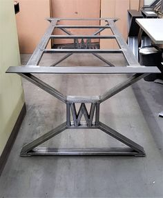 "Modern, Industrial Dining Table Legs - with builded ""W"" , Model #TTS09B-W, with Frame Brace"