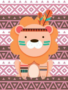 Poster - Leãozinho Tribal Painting For Kids, Art For Kids, Decoration Creche, Tribal Animals, Cartoon Clip, Baby Posters, Cross Stitch Baby, Cute Illustration, Nursery Wall Art