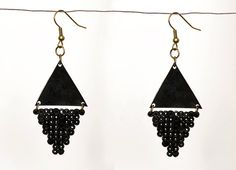 Black Graphic Triangle Statement Earrings by Katrine Zacho