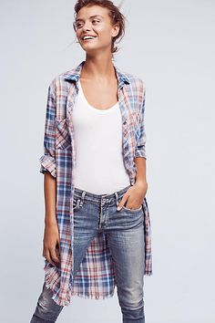 Fringed Plaid Button