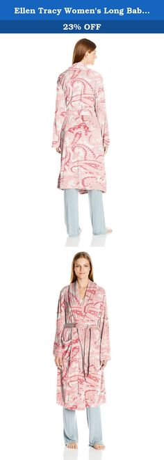 Ellen Tracy Women's Long Baby Fleece Komono Wrap Robe, Coral Paisley, Small/Medium. Ultra cozy fleece shawl collar wrap robe silhouette with two patch pockets.