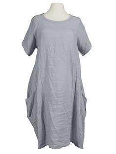 Damen Leinenkleid A-Form, grau von Spaziodonna bei www.meinkleidchen.de