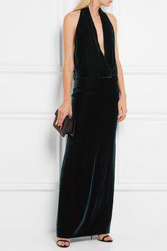 Tom Ford   Backless velvet halterneck gown   NET-A-PORTER.COM
