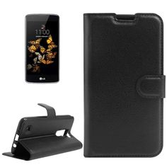 [$2.40] For LG K8 Litchi Texture Horizontal Flip Leather Case with Holder & Card Slots & Wallet(Black)