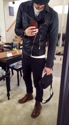 Allsaints leather jacket x Levis 510 x Timberland boots x Zanerobe tee