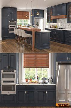 Shaker Style U-Shaped Navy Blue Kitchen Blue Kitchen Decor, Kitchen Room Design, Kitchen Cabinet Design, Kitchen Redo, Modern Kitchen Design, Interior Design Kitchen, Kitchen Remodel, Narrow Kitchen, White Kitchen Cabinets