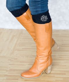 Another great find on #zulily! Princess Linens Black Monogram Leg Warmers - Women by Princess Linens #zulilyfinds