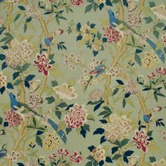 G P & J Baker HYDRANGEA BIRD AQUA/ROSE Fabric