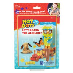 New for 2017! Hot Dots Jr. Let's Learn the Alphabet Interactive Book & Pen Set helps little ones learn and practice the alphabet! Includes a colorful hardcover alphabet book complete with cool activities and an interactive learning pen with lights, sounds, and silly phrases that help little ones stay engaged and encouraged as they practice. Ages 3+.