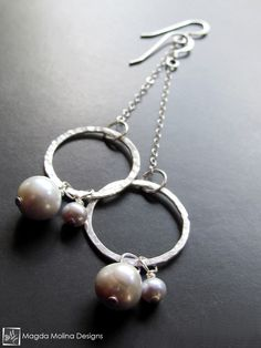 The Hammered Silver Rings On Chains With Freshwater Pearls (jewelry, handmade, hand made, dressy, casual, red carpet, evening, wedding, bride, bridal, fashion, style, stylish, women, woman)