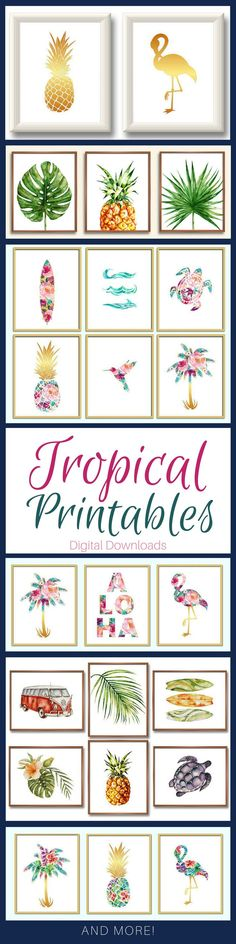 Tropical Art Printables. Available as whole sets! Pineapple, flamingo, palm leaves, palm trees, surf board, turtle #tropical #pineapple #palmtrees #ad #printable