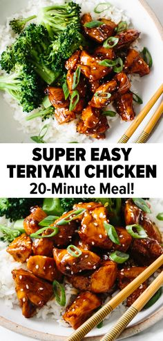 Teriyaki chicken is a quick and hearty dish that wins every time. Quickly stir fry chicken pieces and mix with a sticky sweet teriyaki sauce. Serve it on top of a bed of rice alongside freshly steamed veggies. Easy, healthy and delicious! Chicken Teriyaki Rezept, Easy Teriyaki Chicken, Teriyaki Sauce, Chicken Terriyaki Recipe, Teriyaki Stir Fry, Sticky Chicken, Recipe Chicken, Roast Chicken, Healthy Dinner Recipes